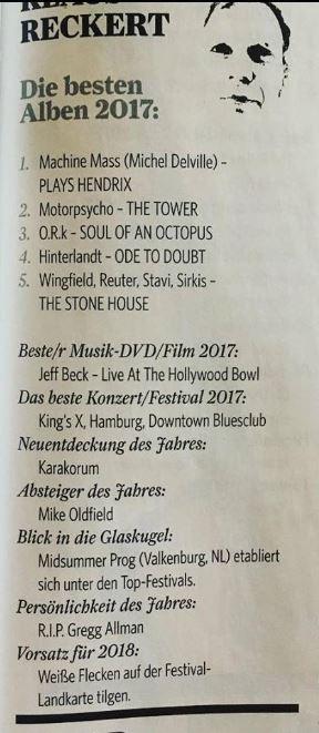 Classic Rock-Redaktions-Charts 2017 (Heft 02/2018)