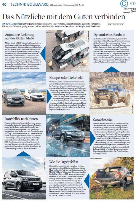 IAA Nutzfahrzeuge: Pickups & Transporter (Technikboulevard f. VDI nachrichten)