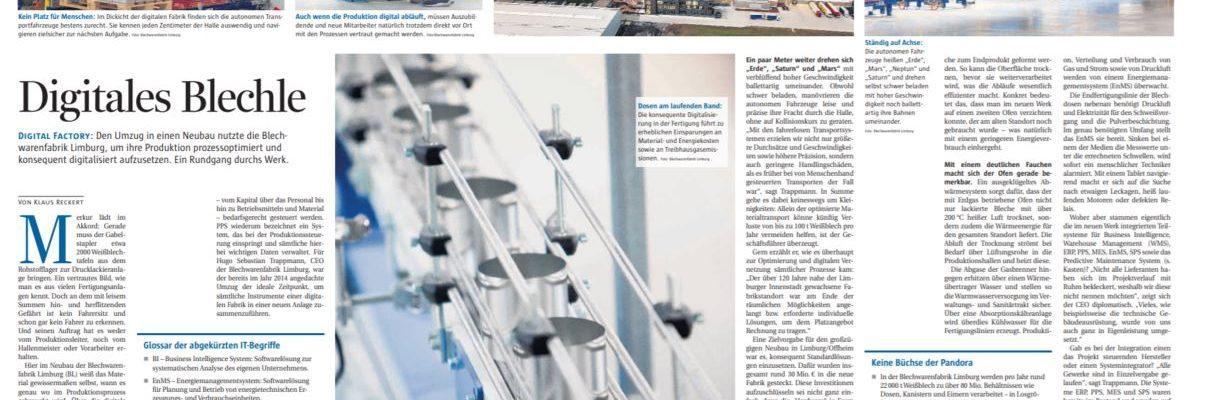Reportage VDI nachrichten No. 39: DigitalesBlechle
