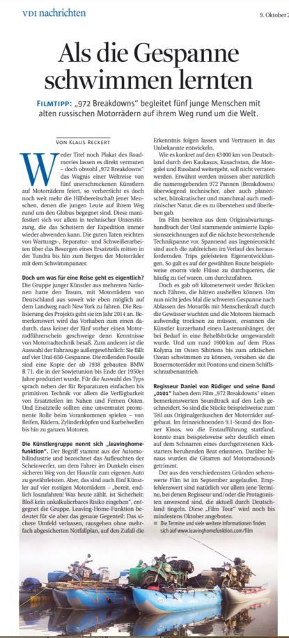 """Film-Empfehlung """"972 Breakdowns"""" in VDI nachrichten Nr. 41/2020 v. 9.10.20"""